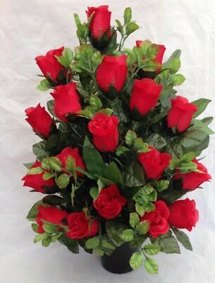 Artificial Silk Flower Grave Pot Flat Back All Rose Arrangement Any Colour