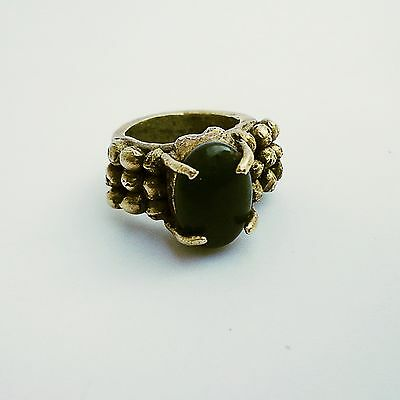 antique  brass Chunky Ring with  Nephrite jade Stone