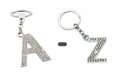 Alphabet Keyring A-Z Initials Letter Key Ring Shiny Silver Key Chain