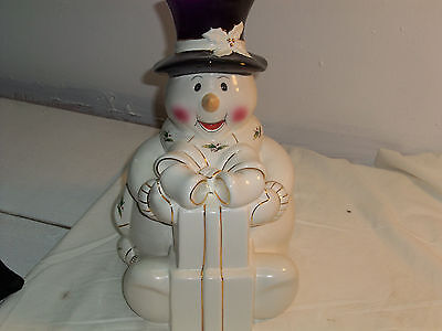 Holly Holiday Snowman Cookie Jar China