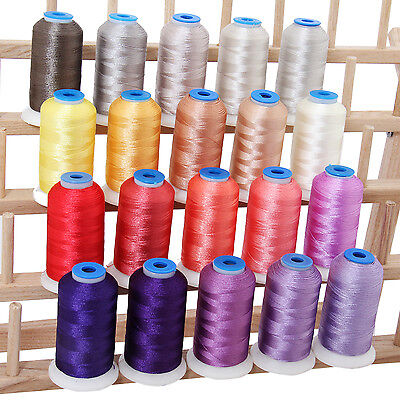 Polyester Machine Embroidery Thread Set 20 Frosty Colors - 1000M Cones - 40Wt