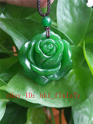 Fashion Chinese Green Jade Roses Necklace Pendant Charm Jewelry Lucky Amulet Hot
