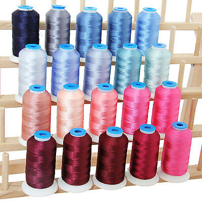 Polyester Machine Embroidery Thread Set 20 Pink/Blue Colors - 1000M Cones - 40Wt