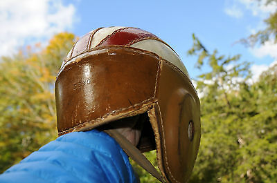 Old Antique Early WILSON Model D290 Brown Leather Football Helmet Vintage Sports