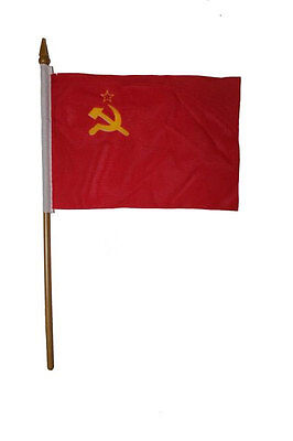 "Ussr Country Small 4 X 6  Mini Stick Flag With 10"" Plastic Pole"
