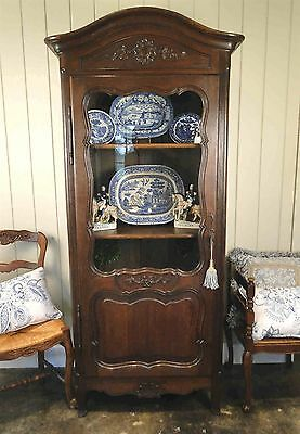 Antique French Bookcase Armoire Cabinet Cupboard Carved Dark Oak Shells