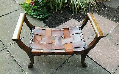 Vintage Leather Woven Stool.