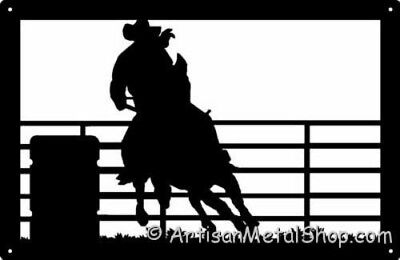 Rodeo Barrel Racer Cowboy Western Wall Art Gift NEW Metal Silhouette Made USA