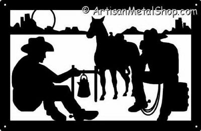 Western Cowboys at Campfire Metal Wall Art Silhouette Plaque Made in USA New