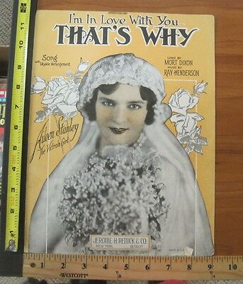 Vintage Sheet Music Aileen Stanley 1926 I'm In Love With You That's Why