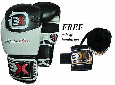 Boxing Gloves Training Sparring Punch Bag Strike Fighting Focus Handwrap 16oz
