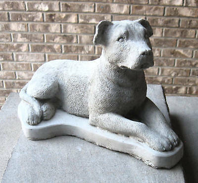 Concrete Pit Bull Dog   Statue  //  Memorial ,,,(Beautiful Statue)