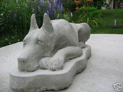 Concrete Great Dane Cropped Dog Statue / Monument