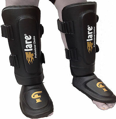 Flare Shin Instep Foot Pads MMA Leg Kick Guards Muay Thai Boxing Training