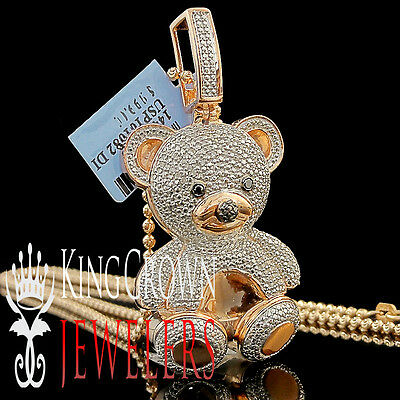Real Diamond Teddy Bear Pendant Ladies 14K Rose Gold Finish Round Pave 3D Charm