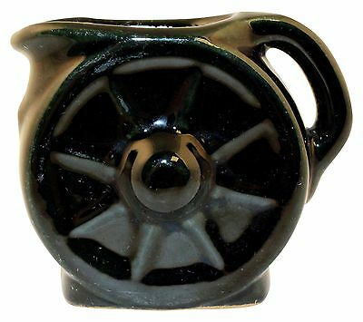 Frankoma Pottery 1940s Ada Clay Wagon Wheel Onyx Black Creamer No. 560