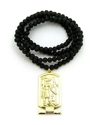 "NEW EGYPTIAN ANUBIS ANKH PENDANT 6mm/30"" WOODEN BEAD CHAIN NECKLACE RC2156G-WBK"