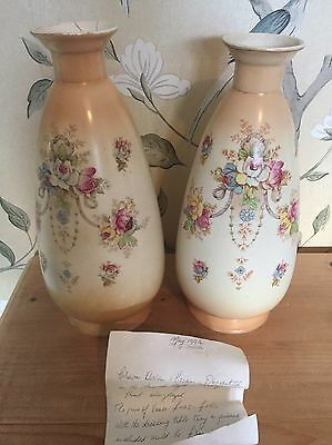 Antique Vintage Matching Pair Crown Devon Blush French Style Vase