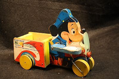 Vintage Fisher Price FP Pull Toy 733 Mickey Mouse Safety Patrol 1956 Wood Litho