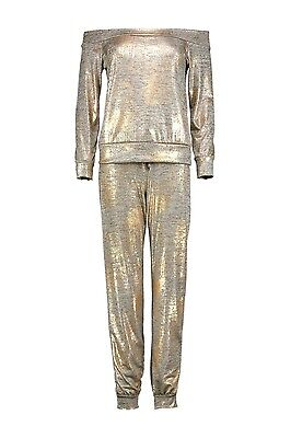 Ladies Women Off Shoulder Gold Metallic Knit Loungewear Set Jogger Set *8-14*