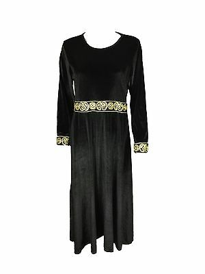 Gold Embroidered Black Kaftan Islamic Traditional Abaya Jubba Maxi Dress