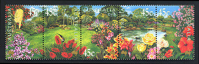 2000 Australia - Garden Flowers - Strip Of 5 - Muh - J38