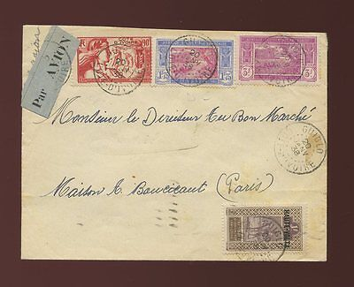 French Ivory Coast Guiglo Multi Franking Airmail 1938 + Etiquette