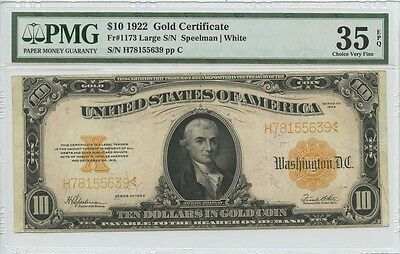 1922 $10 Gold Certificate FR#1173 VF35 Pmg Choice Very Fine EPQ