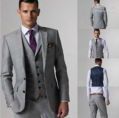 Custom Made Light Gray Men Wedding Suits Groom Tuxedos Formal Occasion Suit