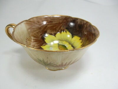 Occupied Japan Saji Fancy China Copper Gold Yellow Flower Tea Cup
