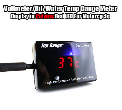 Top Gauge Motorcycle Digital Voltmeter/Oil/Water Temp Gauge Meter Red LED 3in1
