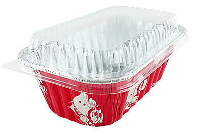 1 lb.Disposable Aluminum Holiday Mini Loaf Pans w//Clear Dome Lids #9302X