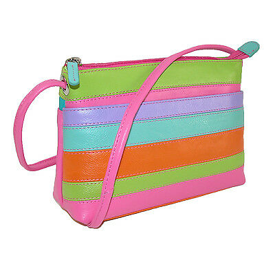 New CTM Women's Leather Striped Crossbody Handbag