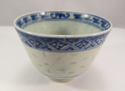 Antique Chinese Hand Painted Porcelain Riceware Cup Ceramic China