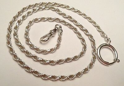 """STERLING SILVER 925 POCKET WATCH HOLDER TWISTED CHAIN FOB SWIVEL CLASP 22"""" 21g"""