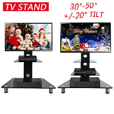 """Glass TV Stand With Bracket Cantilever Black Mount For 30-50"""" 42"""" Plasma LCD LED"""