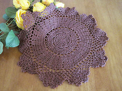 Hand Floral Crochet Cotton Deep Red Doily Round Table Topper 30CM