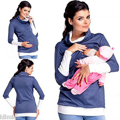 2in1 Maternity & Nursing Warm Hoodie Pregnancy Breastfeeding Top Size 6-14