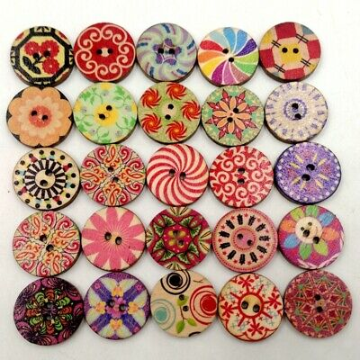 100x Decorative Round 2 Holes Wooden Buttons for Scrapbooking Crafts 20mm