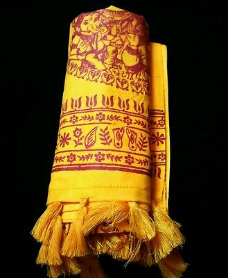 Hindu Shawl Throw Wrap with Tassels for Prayers Om Namah Shivaya Mantras Yoga