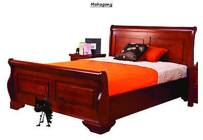 Sweet Dreams Jackdaw Sleigh Bed Frame Mahogany Solid Wood 150cm Kingsize 5FT