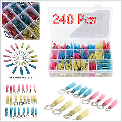 240 Pcs Mixed Color Car Insulated Heat Shrink Electrical Connectors Terminal Kit