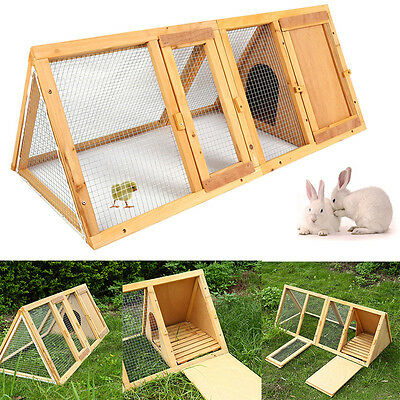 Large Triangular A-Frame Wooden Rabbit Hutch Guinea Pig House Coop Cage w/Run