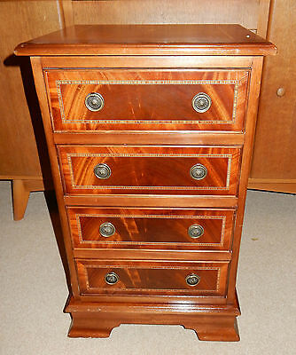 Inlaid Figured Mahogany 4 Draw Antique Style Bedside Chest