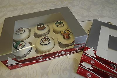 Pack of 10 Festive Christmas Design Cupcake Boxes -  holds 6 cup cakes