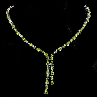 Silver 925 Genuine Natural Rich Green Peridot Pear & Round Cut Necklace 18 Inch