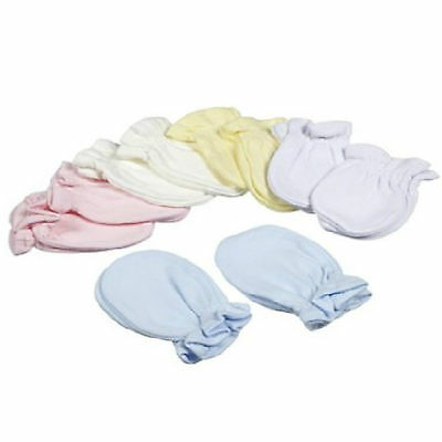 2  Pairs Baby Scratch Mittens Mitts Newborn Pink  Blue White  Cotton Girls Boys