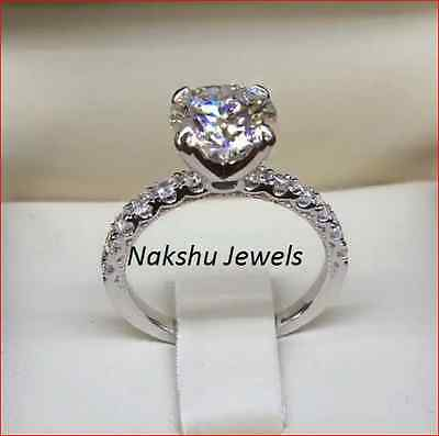 2.00Ct Vs1 Off White Yellow Real Moissanite 925 Silver Engagement Ring