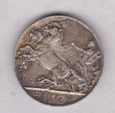 1927R Ten Lire From Italy In Good Very Fine Condition