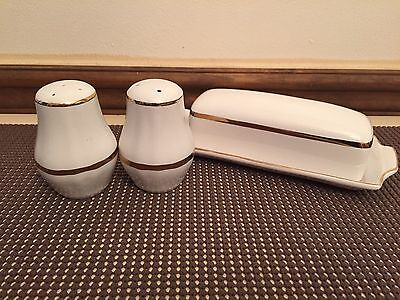 """Alfred Meakin """"PERFECTION GOLD"""" ~ Salt & Pepper Shaker, Butter Dish w/Cover"""